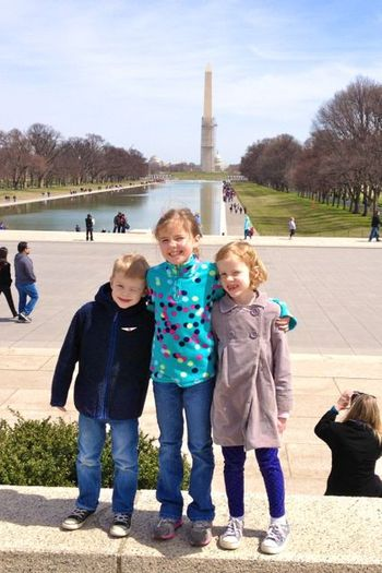 Kids in front of Wash Monument