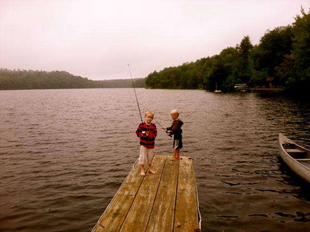 Cal & Eli on the dock