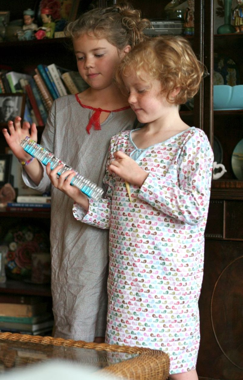 Girls standing in nightgown