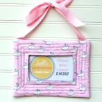 Baby Announcement Quilted Fabric Frame