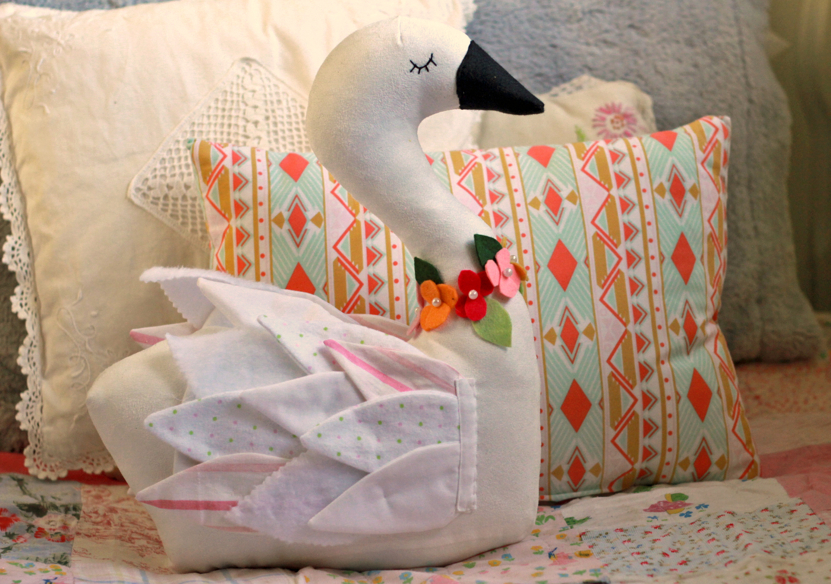 Swan sewing pattern with patchwork wings