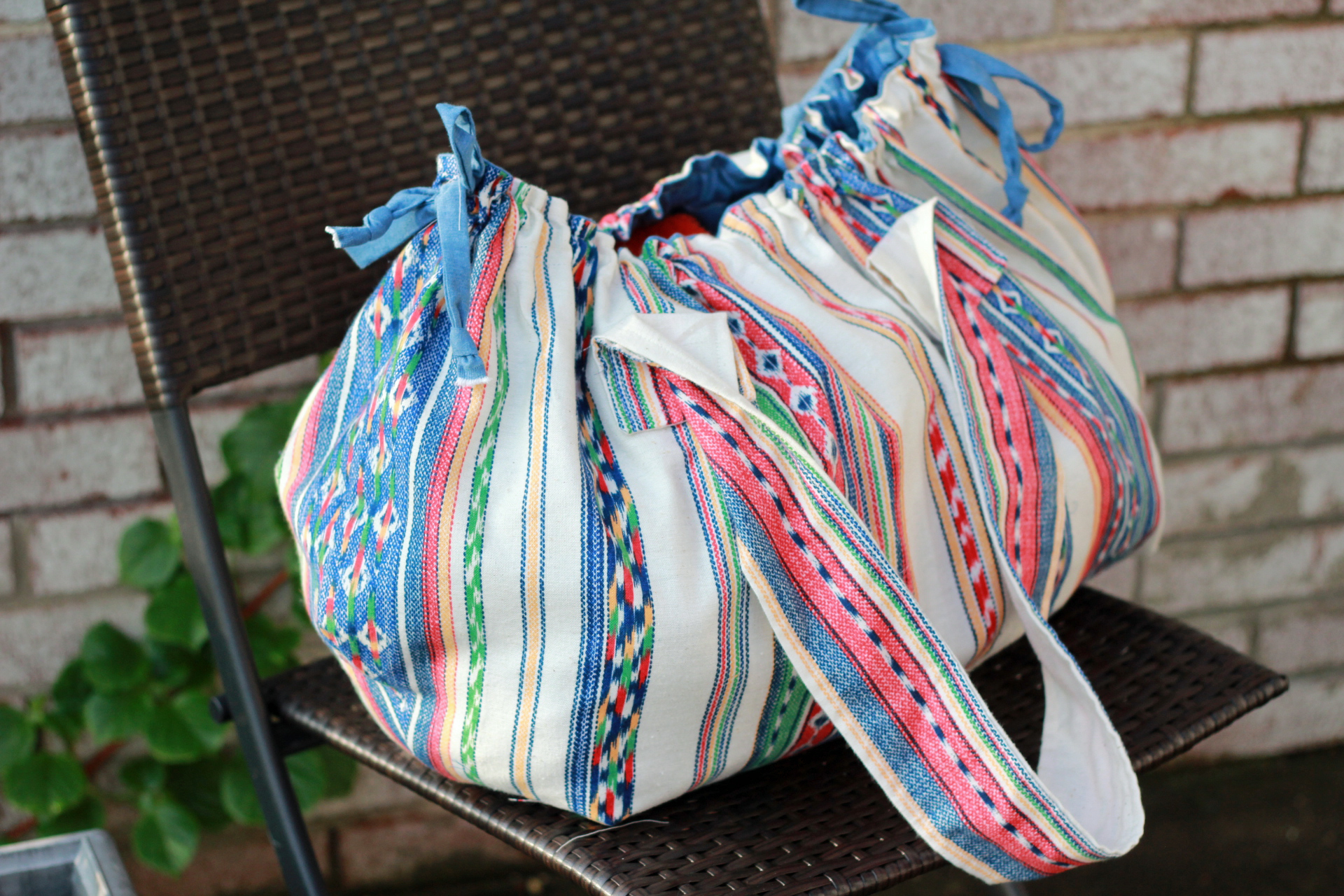 boho beach bag stripe closed