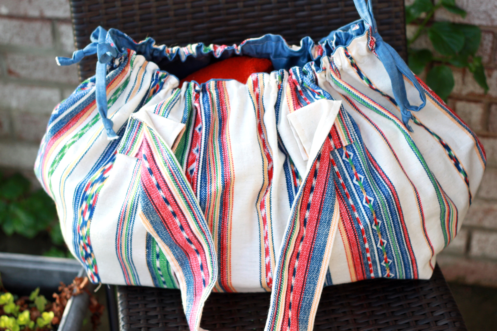 boho beach bag open