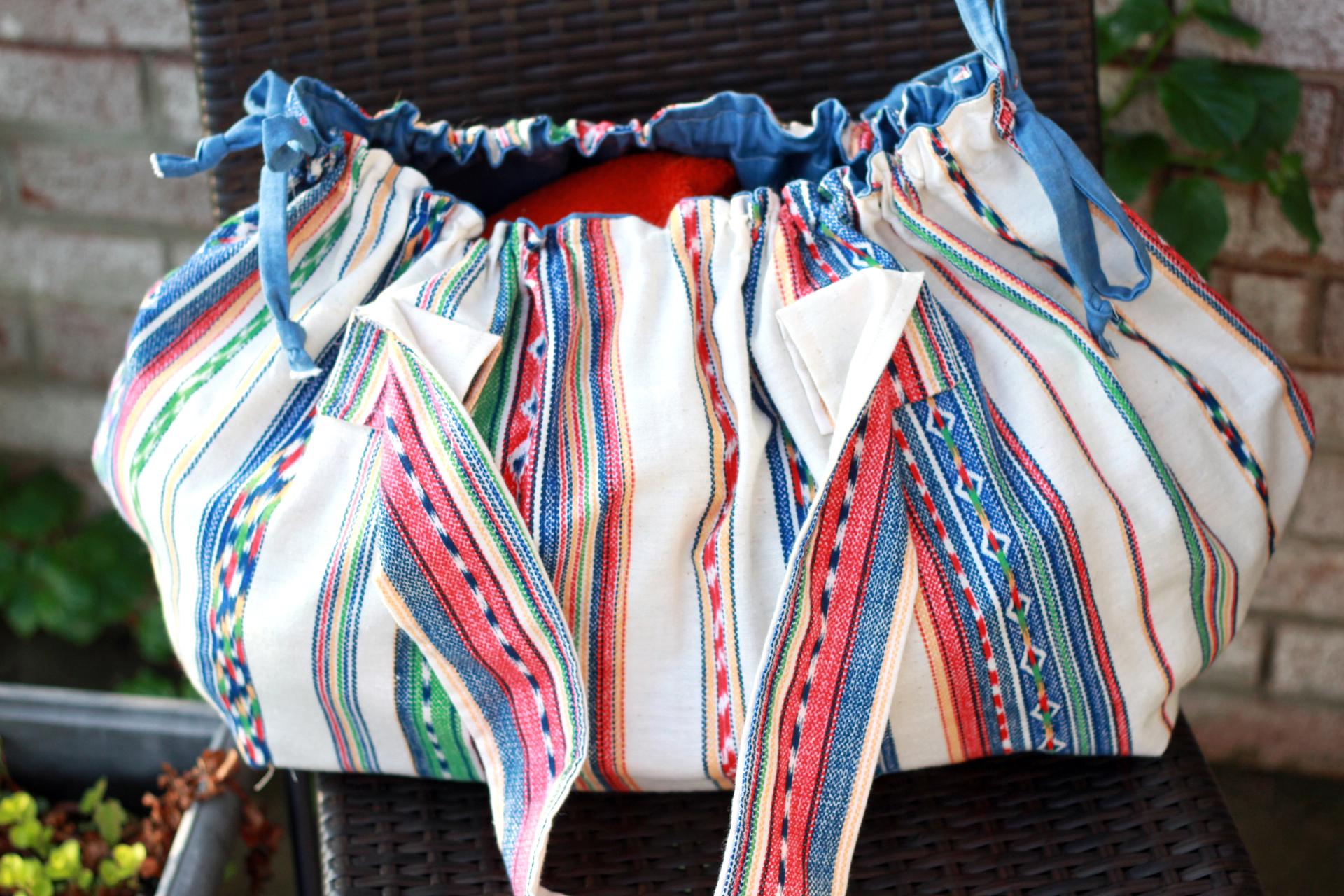 boho beach bag open