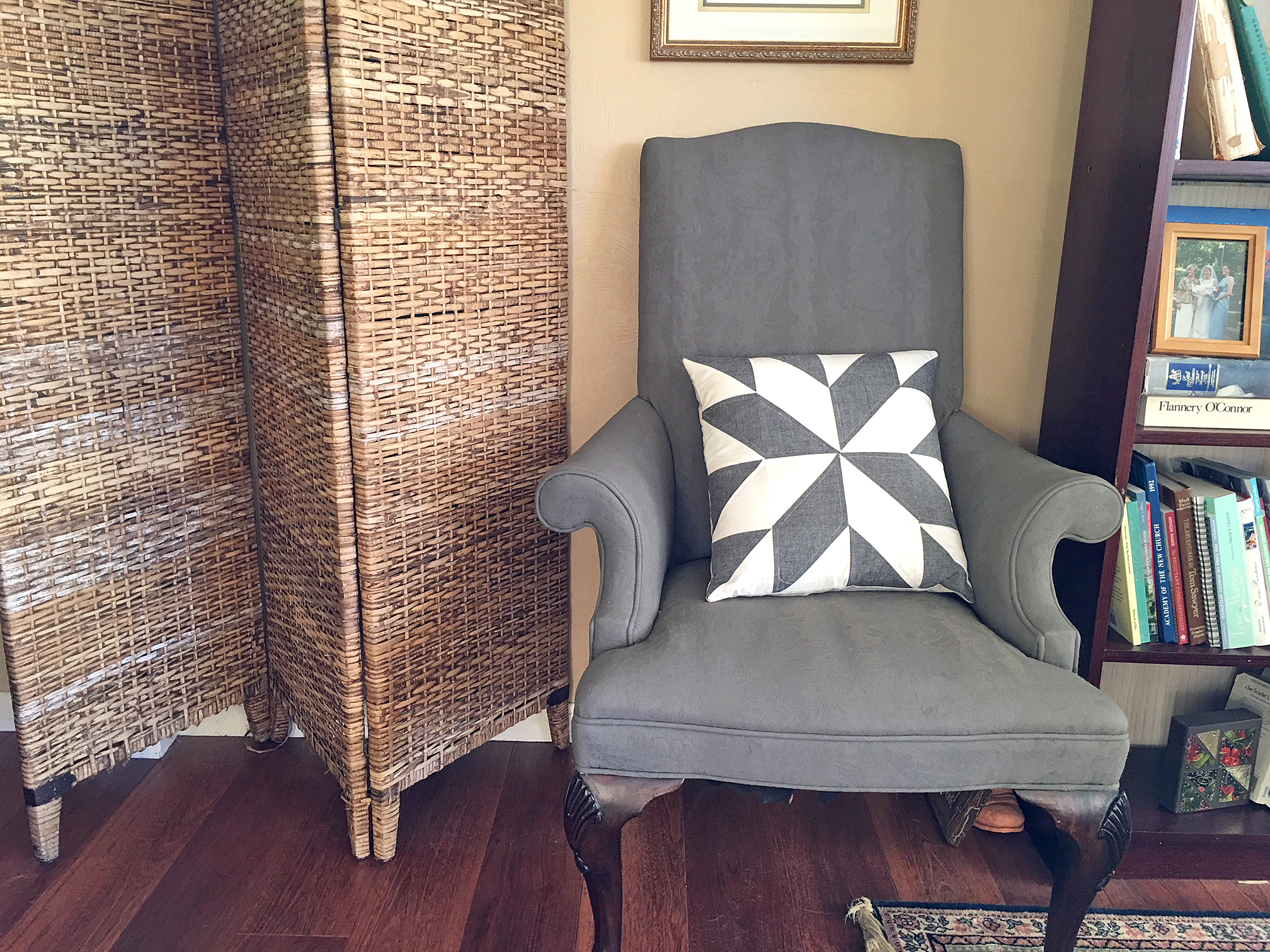 Quilted Pillow DIY on gray chair