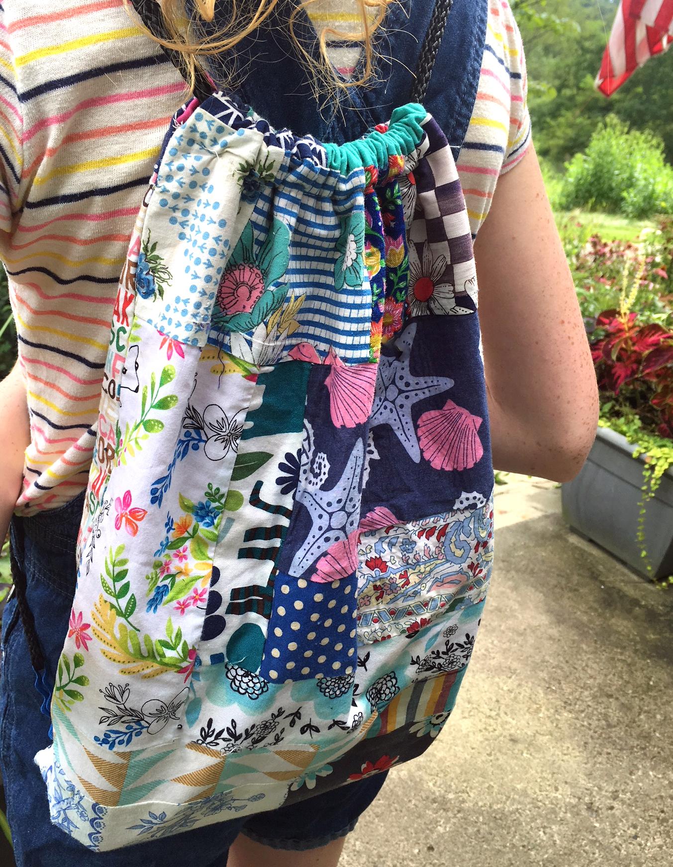DIY Blue patchwork Drawstring backpack