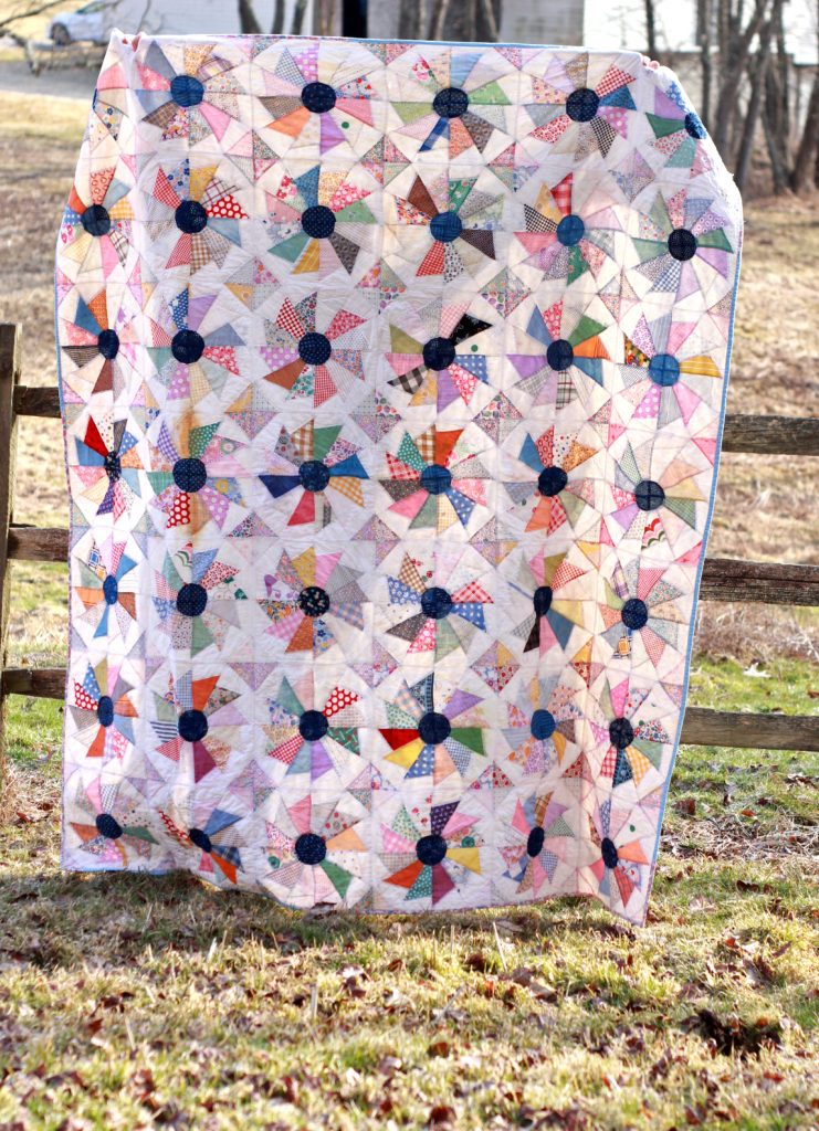 flour sack quilt top finished