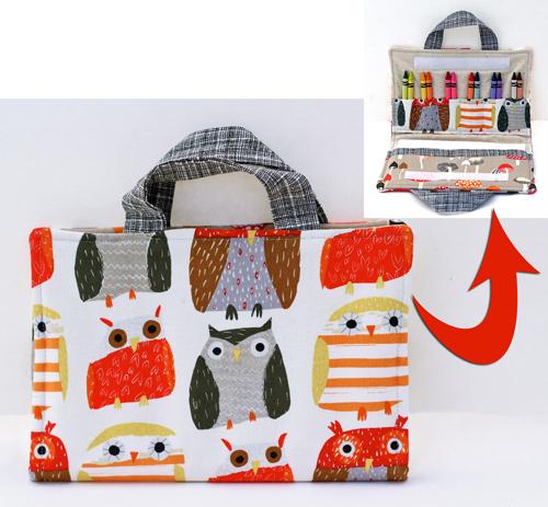 Owl fabric crayon holder organizer