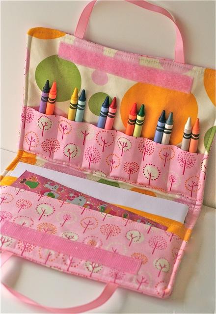 crayon holder folio pink sewing pattern