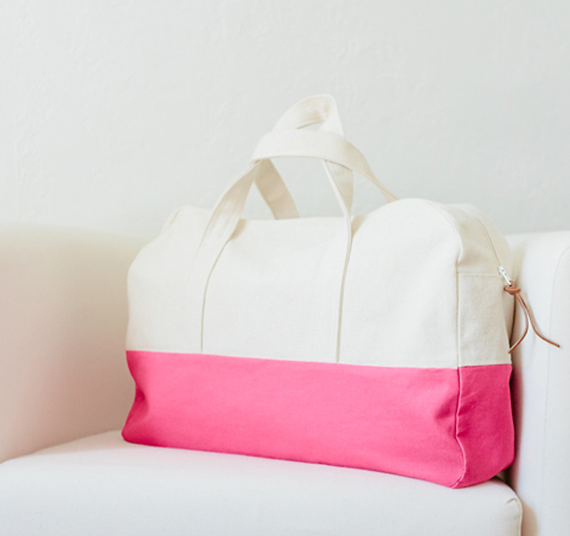 pink and white duffle bag sewing pattern PDF
