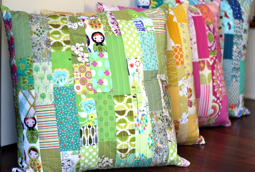 Color Strip Scraps Floor Pillows Tutorial