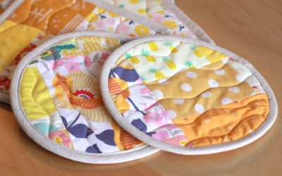 Yellow Scrap Fabric Made into Hot pads!