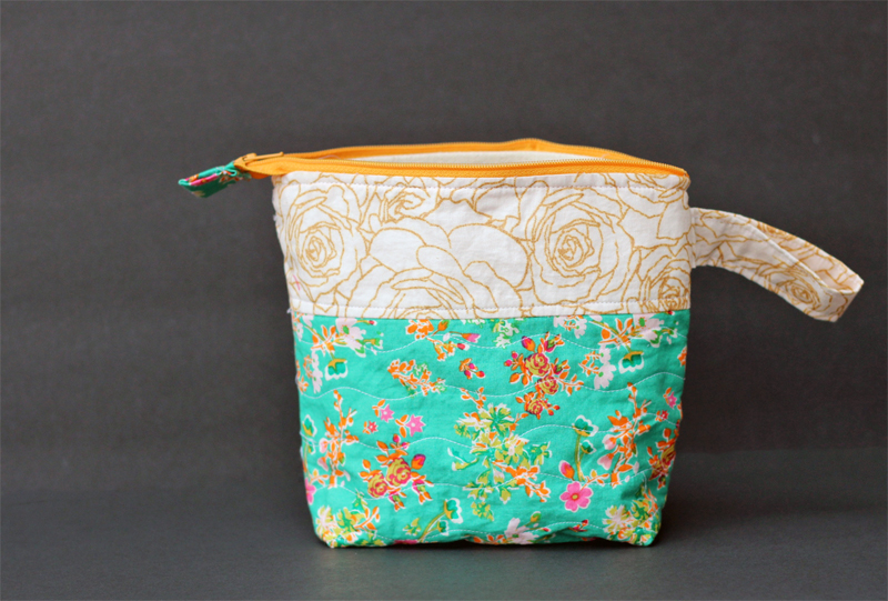 Divided Zipper Pouches in Priory Square Fabric